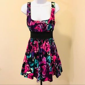 Fit and flare rose print dress